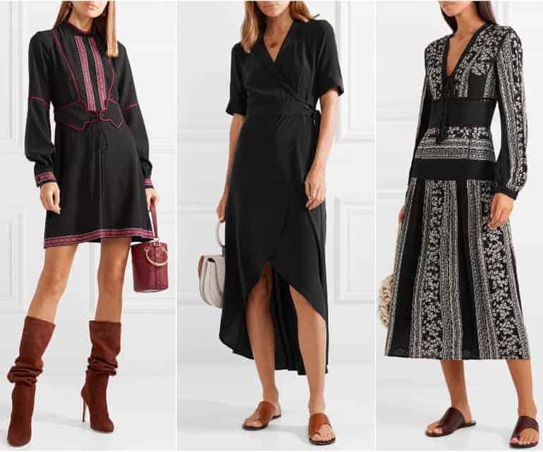 Schoenen bij een zwarte jurk - bruin