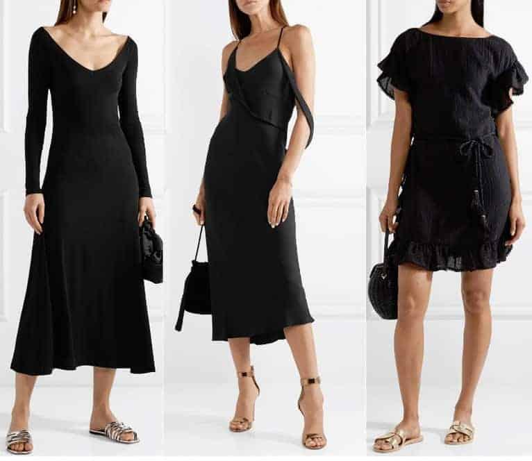 Schoenen bij een zwarte jurk - glitters en metallic