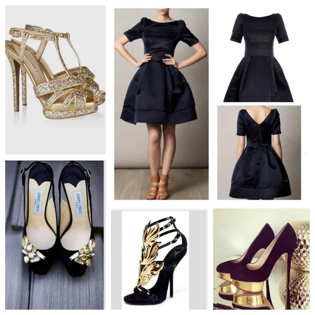 Schoenen bij een zwarte jurk - goud en glitter