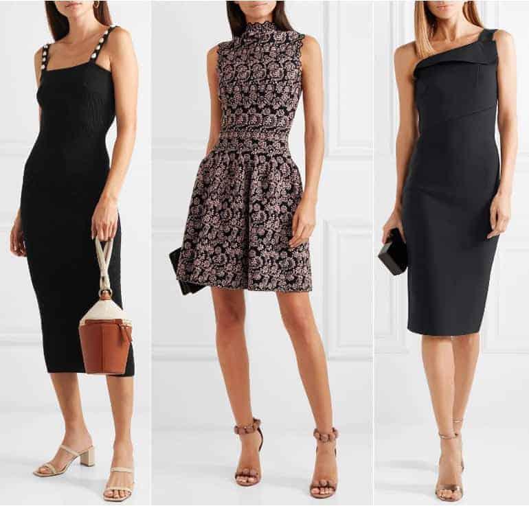 Schoenen bij een zwarte jurk - nude huidskleur en beige