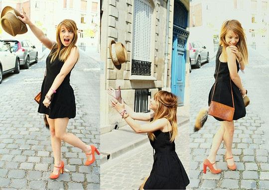 Schoenen bij een zwarte jurk - oranje
