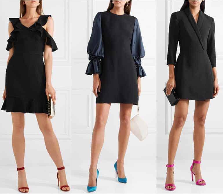 Schoenen bij een zwarte jurk - roze blauw en donkerrood