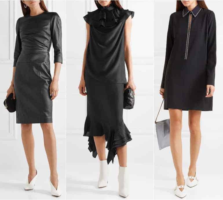 Schoenen bij een zwarte jurk - wit