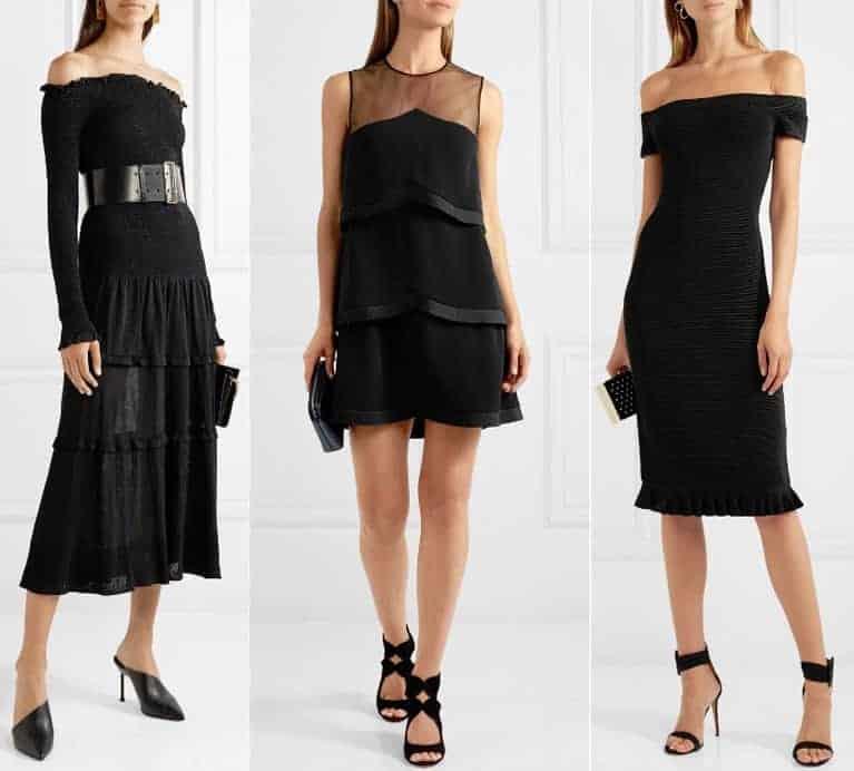 Schoenen bij een zwarte jurk - zwart