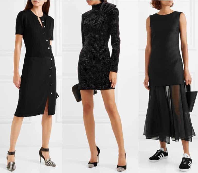 Schoenen bij een zwarte jurk - zwart-wit