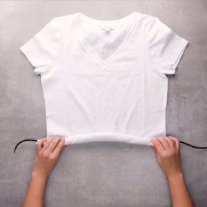 Stap 1 - Shirt oprollen rond een touw