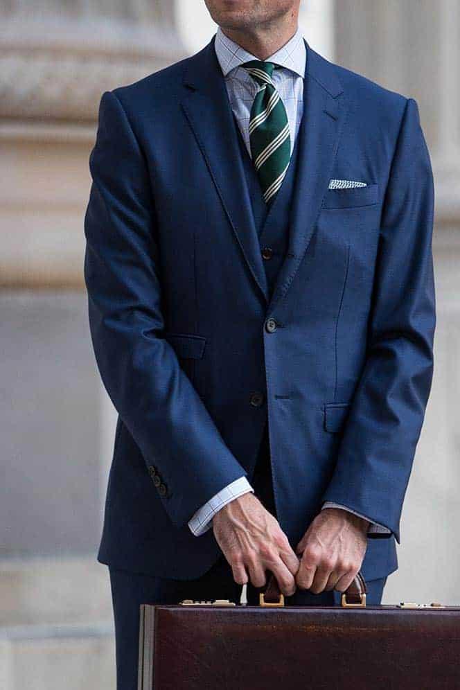 Welke kleur stropdas bij een blauw pak- Groen gestreepte stropdas