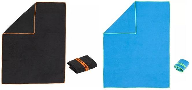 microvezel handdoek Maat S 42x55cm kleur Blauw en Zwart