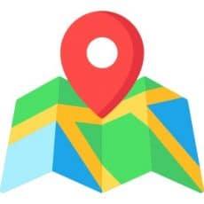 Rode Locatie pin die naar een kaart wijst