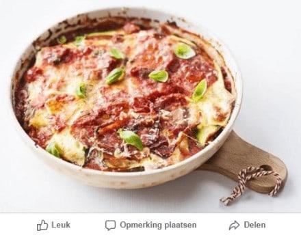 voorbeeld van een facebook bericht met courgette lasagne met ricotta en parmaham