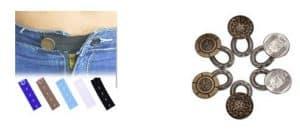 Voorbeeld van knoopsgatverlengers en broekverbreders