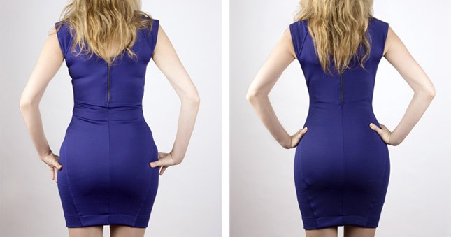 Voor en Na foto bij het dragen van corrigerend ondergoed onder een strakke jurk