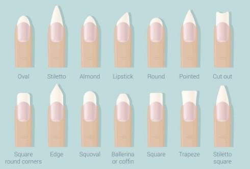 14 verschillende vormen acrylnagels ( illustratie)