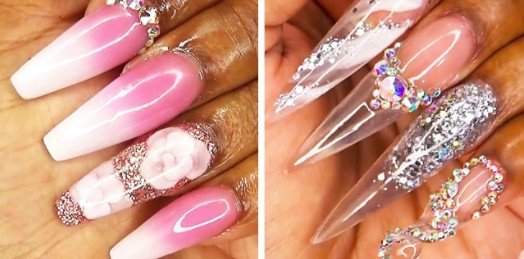 Glimmende nagels met glitters en lengte in de mooiste roze kleuren