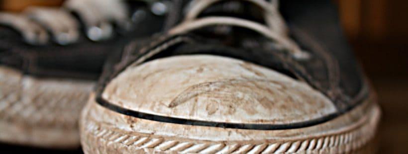 vieze schoen geschikt voor de wasmachine